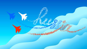 Lettering Russia in the blue sky. Tracking by silhouettes russian military aircraft. The concept of the Russian aviation. Stock Photo