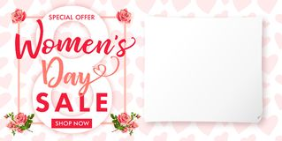 Happy Womens day rose flower Sale banner. Lettering sale banner for the International Womens Day, 8 March with text special offer, shop now, paper and heart Royalty Free Stock Photo
