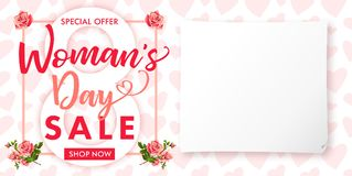 Happy Womens day rose flower Sale banner. Lettering sale banner for the International Womens Day, 8 March with text special offer, shop now, paper and heart Stock Image