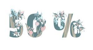 Lettering 50% sale discount hand drawn floral background Spring flowers. Lettering Inscription 50% sale discount with hand drawn floral background Spring flowers vector illustration
