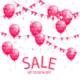 Lettering Sale with pennants and pink balloons Stock Photography