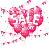 Lettering Sale with pink balloons and pennants Stock Photo