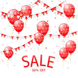 Lettering Sale with red balloons and pennants Royalty Free Stock Photography