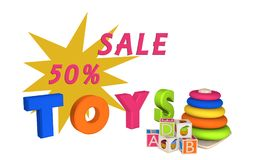 Lettering Sale 50% and Toys with learning toys for toddlers and. Lettering Sale and Toys with learning toys for toddlers and letter cubes. 3d illustration Royalty Free Stock Photo