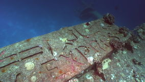 Lettering Salem Express shipwrecks underwater in the Red Sea in Egypt. stock footage