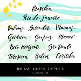 Lettering set Brazilian cities Royalty Free Stock Images