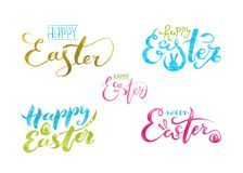 Watercolor Set Lettering Happy Easter. Isolated on white background. vector illustration