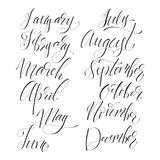 Lettering set of months. Hand drawn lettering set of months of the year. Liner hand written names of months, trendy collection Royalty Free Stock Images