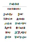 Lettering set of months of the year and numbers with black letters on colorful shapes. Hand drawn lettering set of months of the year and numbers with black stock illustration