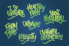 Lettering set for natural products in green colors. Handwritten vector illustration