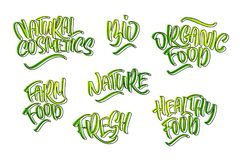 Lettering set for natural products. Handwritten logo fresh, Nature, organic food, natural cosmetics, farm food, Nature, Healthy f vector illustration
