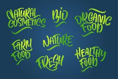 Lettering set for natural products. Handwritten logo fresh, Nature, organic food, natural cosmetics, farm food, Nature, Healthy f royalty free illustration