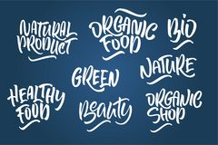 Lettering set for natural products. Handwritten logo fresh, Natu. Re, organic food, natural cosmetics, farm food, Nature, Healthy food. Vector text Royalty Free Stock Images