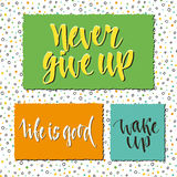 Lettering set of postcards, stickers or banners. Vector design. Inspirational and motivational phrases Royalty Free Stock Image