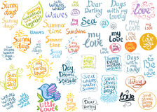 Lettering set: sunny love, summer. Royalty Free Stock Images