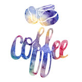 Lettering shape set. Modern calligraphy watercolor style sign coffee. Royalty Free Stock Photography