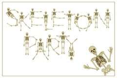 Lettering skeleton party with dancing skeletons font, set of let Royalty Free Stock Images