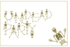 Lettering skeleton party with dancing skeletons font, set of let Royalty Free Stock Photos