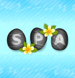 Lettering Spa Made ​​of Stones and Frangipani Flowers Royalty Free Stock Photos