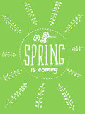 Lettering spring is coming. Decorative border element. Vector branch with leaves and flowers. Hand drown illustration. Stock Photos