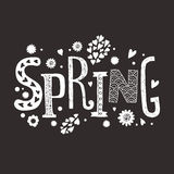 Lettering Spring with decorative floral elements. Vector lettering Spring with decorative floral elements isolated on black background, hand drawn letters Royalty Free Stock Photography