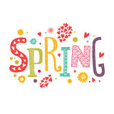 Lettering Spring with decorative floral elements. Vector lettering Spring with decorative floral elements isolated on white background, hand drawn letters Royalty Free Stock Photography