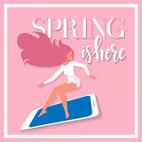 Lettering Spring is here on card with girl on big smartphone in a hurry to spring sale. Discount banner for advertising. Square vector illustration