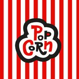 Lettering Sticker Popcorn on striped red and white background. Hand drawn vector sign. For cinema stock illustration