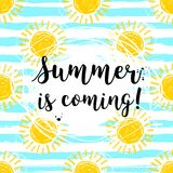 Lettering Summer is coming Hand drawn sun background, striped pattern. Cute hand-drawn summer symbols, Vector sketch Stock Image