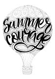 Lettering summer courage. Handwritten in black marker. Figure balloon Royalty Free Stock Photos