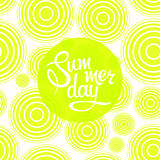 Lettering summer day on seamless pattern. Of circles. Illustration Royalty Free Stock Photo