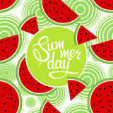 Lettering summer day. On seamless pattern of watermelon. Illustration Royalty Free Stock Image