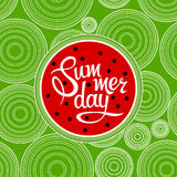 Lettering summer day. On watermelon background. Illustration Stock Images