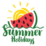 Lettering summer holidays with watermelon and sun Stock Photo