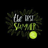 Lettering summer quote at black. Lettering card with summer quote. Lettering at black stylish background for banners, sites, adv. Enjoy every moment Royalty Free Stock Images