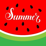 Lettering summer on watermelon background. Illustration Royalty Free Stock Photo