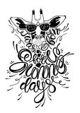Lettering sunny days. I was made for sunny days. Inspirational quote with cartoon giraffe. Hand drawn illustration with hand lettering. Vector calligraphy for Stock Photo