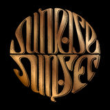 Lettering sunset and sunrise Stock Photos