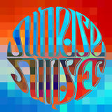 Lettering sunset and sunrise Royalty Free Stock Image