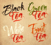 Lettering tea drops kraft Royalty Free Stock Images