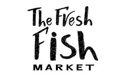 Lettering of text The fresh fish market with texture. Vector lettering of text The fresh fish market. Modern calligraphy.Template of logotype of fish shop, label Stock Photos