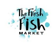 Lettering of text The fresh fish market on watercolor spot. Vector lettering of  text The fresh fish market. Modern calligraphy.Template of logotype of fish shop Stock Photo