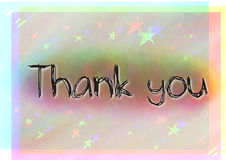 Lettering of Thank you with background in colors and stars. Can view red, yellow and blue stock illustration