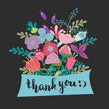 Lettering thank you flowers Royalty Free Stock Photo