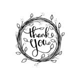 Lettering Thank you. Hand drawing illustration Stock Photography