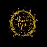 Lettering Thank you. Hand drawing illustration Stock Photos