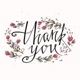 Lettering Thank you with hand drawn flowers. You can place your own text on the bottom. Vector and illustration design Stock Photography