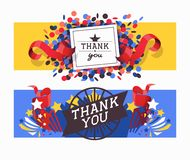 Lettering thank you set of banners vector illustration. Beautiful greeting card calligraphy text words with colorful. Confetti, ribbons, stars. Print design royalty free illustration