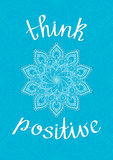 Lettering Think positive Stock Photography