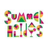 Lettering title Summer holidays. Lettering title `Summer holidays` of funny colored geometric letters. Flat style illustration isolated  on white background Stock Photo